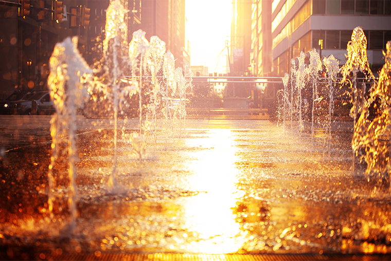 Outdoor fountains on a hot day