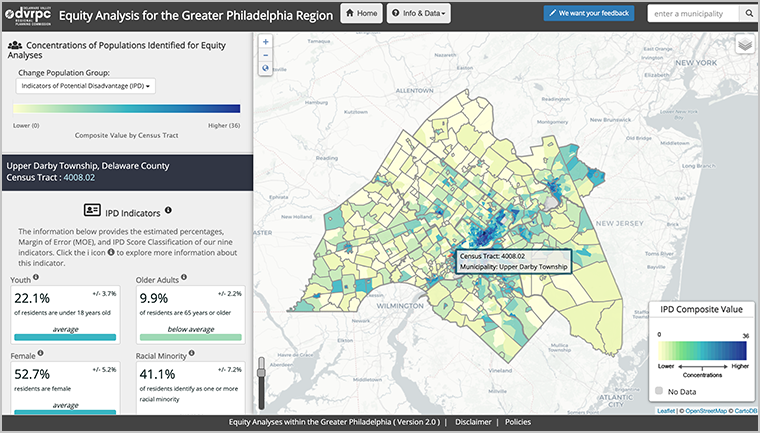 Screenshot of the IPD webmap