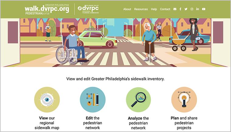 Screenshot of walk.dvrpc.org