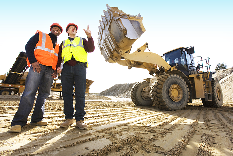 Construction workers and construction equipment